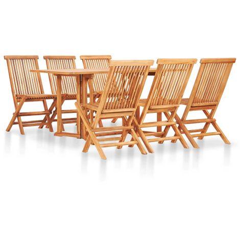 "main image of ""vidaXL 7 Piece Folding Outdoor Dining Set Solid Teak Wood - Brown"""