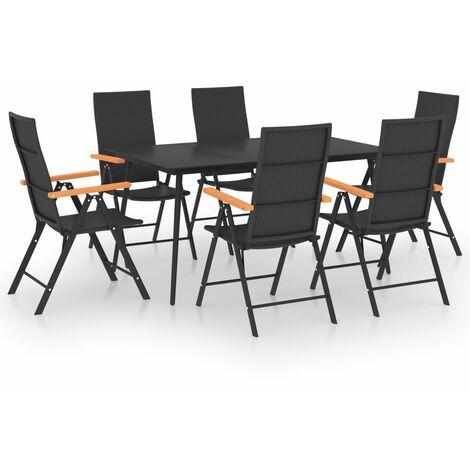 "main image of ""vidaXL 7 Piece Garden Dining Set Black and Brown - Black"""
