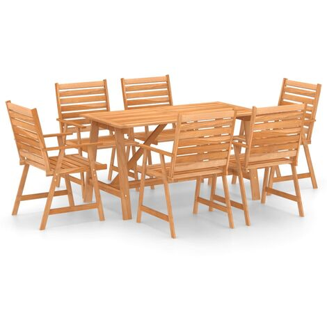 vidaXL 7 Piece Garden Dining Set Solid Acacia Wood - Brown