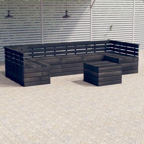 vidaXL 7 Piece Garden Pallet Lounge Set Solid Pinewood Dark Grey - Grey