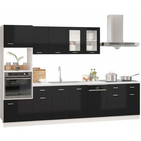 "main image of ""vidaXL 7 Piece Kitchen Cabinet Set Chipboard High Gloss White - White"""