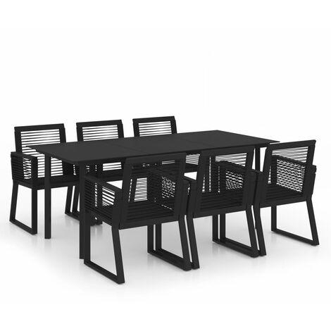 "main image of ""vidaXL 7 Piece Outdoor Dining Set PVC Rattan Black - Black"""
