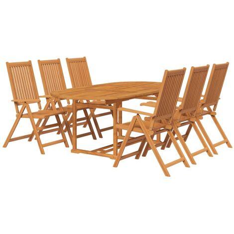 vidaXL 7 Piece Outdoor Dining Set Solid Acacia Wood - Brown