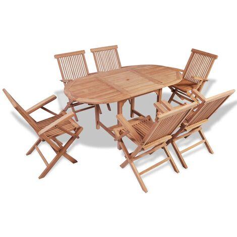 "main image of ""vidaXL 7 Piece Outdoor Dining Set Solid Teak Wood - Brown"""