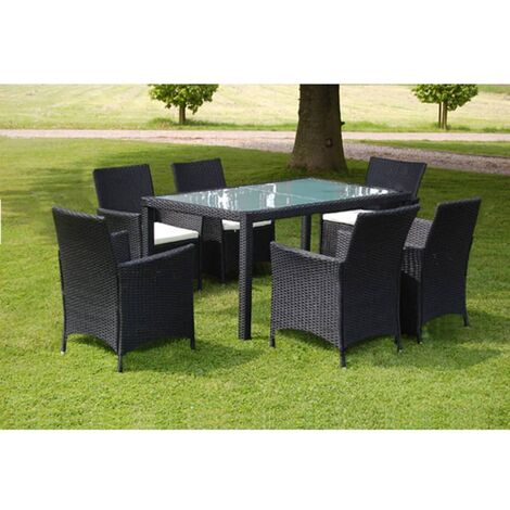 vidaXL 7 Piece Outdoor Dining Set with Cushions Poly Rattan Black - Black