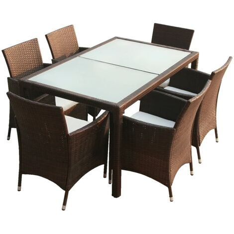 vidaXL 7 Piece Outdoor Dining Set with Cushions Poly Rattan Brown - Brown