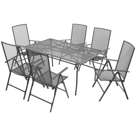 vidaXL 7 Piece Outdoor Dining Set with Folding Chairs Steel Anthracite - Anthracite