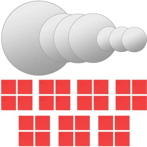 vidaXL 7 Piece Wall Mirror Set Round Glass - Silver