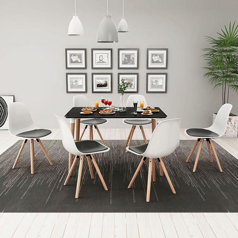 Essgruppe Tisch Stühle Schwarz Weiß 7-tlg. - VIDAXL