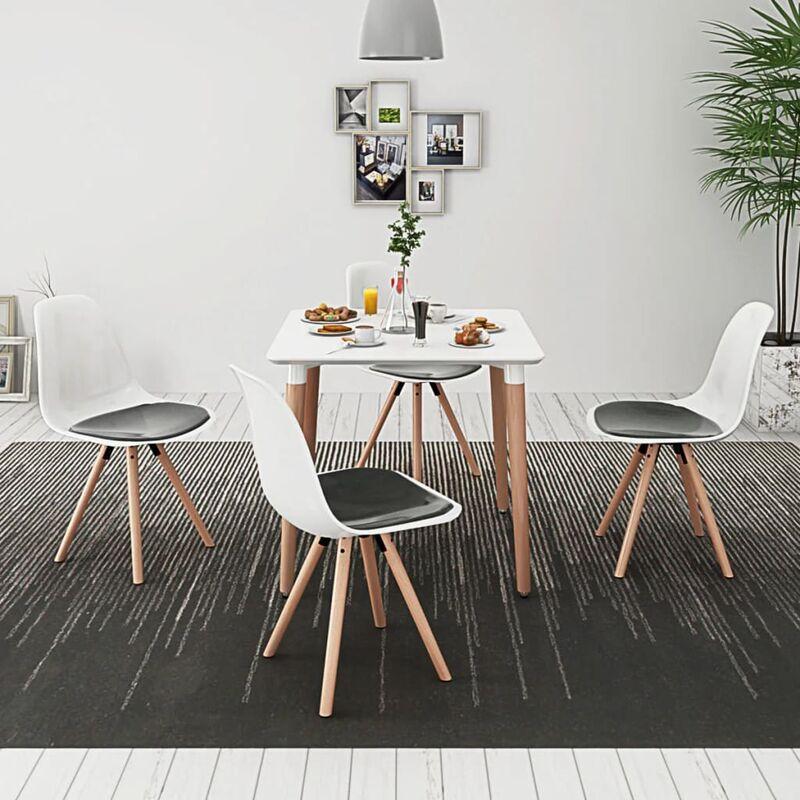 Essgruppe Tisch Stühle 5-tlg. Weiß Schwarz