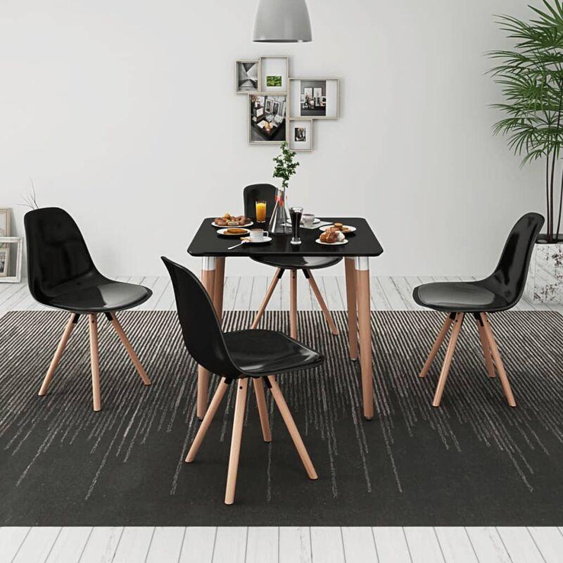 Essgruppe Tisch Stühle 5-tlg. Schwarz - VIDAXL