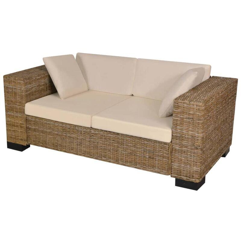 7-tlg. 2-Sitzer Sofa Set Echtes Rattan - VIDAXL