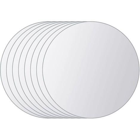 vidaXL 8 pcs Mirror Tiles Round Glass - Silver