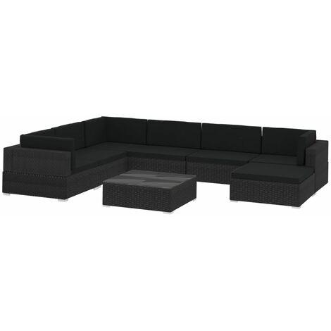 vidaXL 8 Piece Garden Lounge Set with Cushions Poly Rattan Black - Black