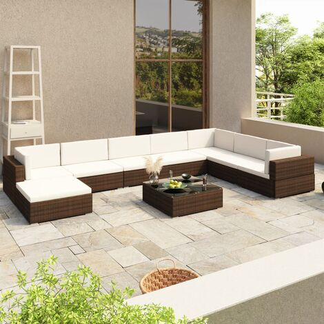 "main image of ""vidaXL Outdoor Lounge Set 24 Pieces Poly Rattan Garden Sofa Seat Brown/Black"""