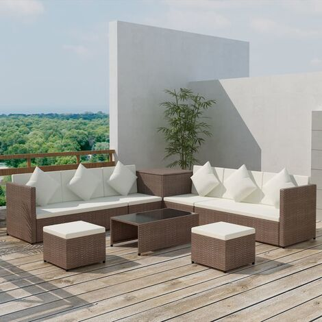 vidaXL 8 Piece Garden Lounge Set with Cushions Poly Rattan Brown - Brown