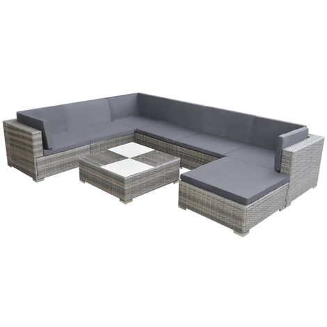 vidaXL 8 Piece Garden Lounge Set with Cushions Poly Rattan Grey - Grey