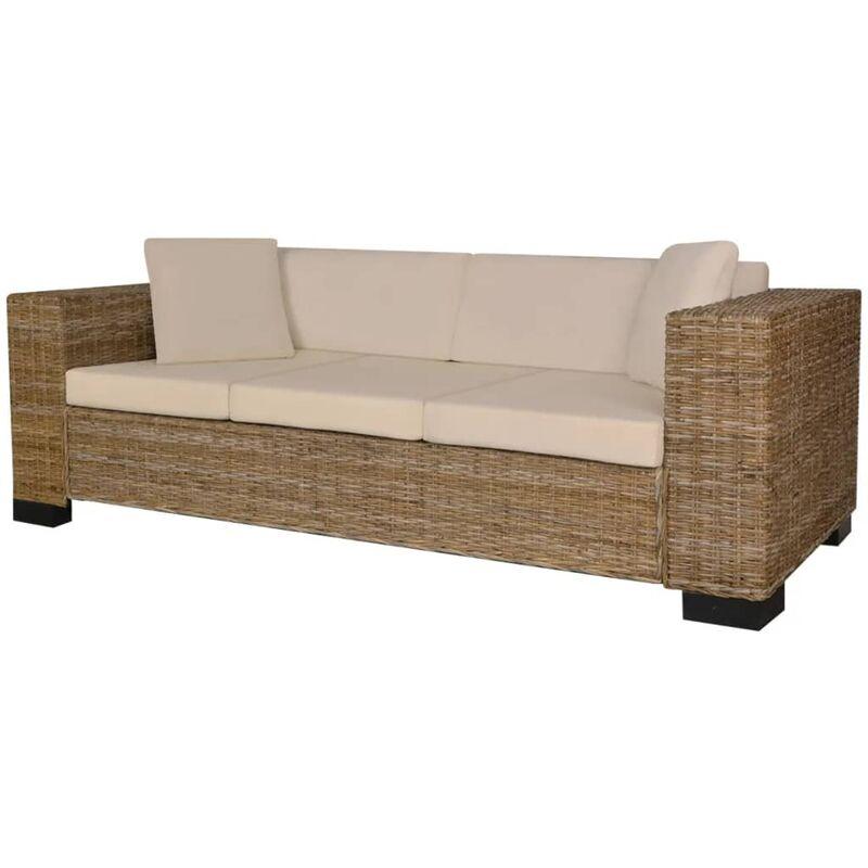 8-tlg. 3-Sitzer Sofa Set Echt Rattan - VIDAXL