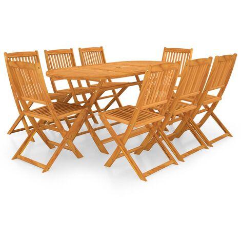 vidaXL 9 Piece Folding Garden Dining Set Solid Acacia Wood - Brown