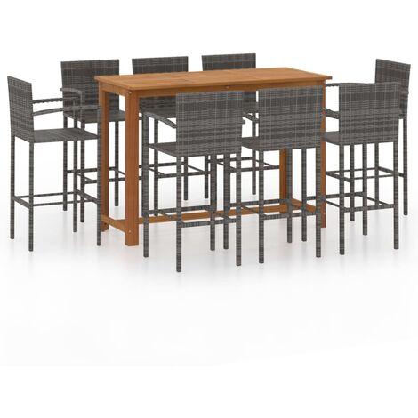 vidaXL 9 Piece Garden Bar Set Grey - Grey