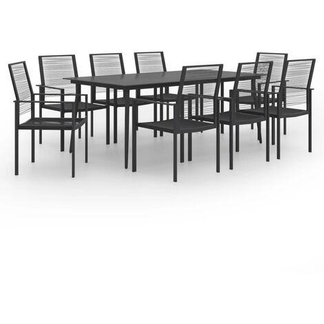 vidaXL 9 Piece Garden Dining Set - Black