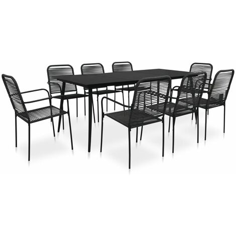 vidaXL 9 Piece Outdoor Dining Set Cotton Rope and Steel Black - Black