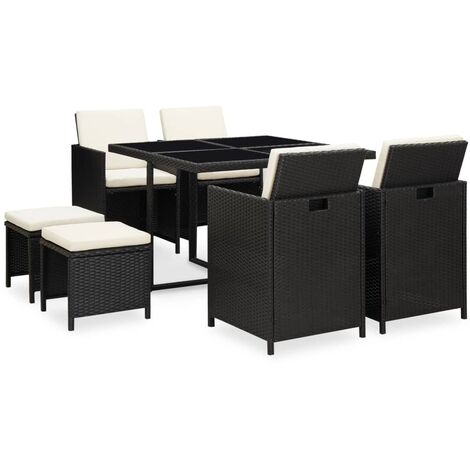 vidaXL 9 Piece Outdoor Dining Set with Cushions Poly Rattan Black - Black