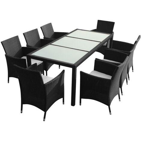 vidaXL 9 Piece Outdoor Dining Set with Cushions Poly Rattan Black - Black