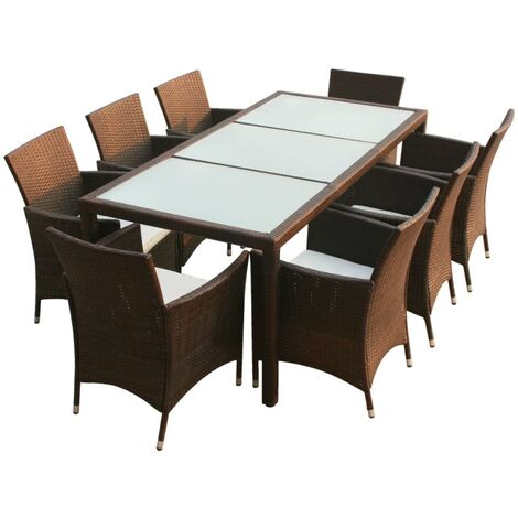 vidaXL 9 Piece Outdoor Dining Set with Cushions Poly Rattan Brown - Brown