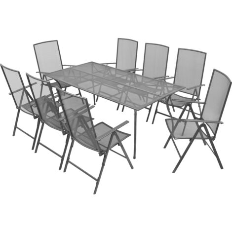 vidaXL 9 Piece Outdoor Dining Set with Folding Chairs Steel Anthracite - Anthracite