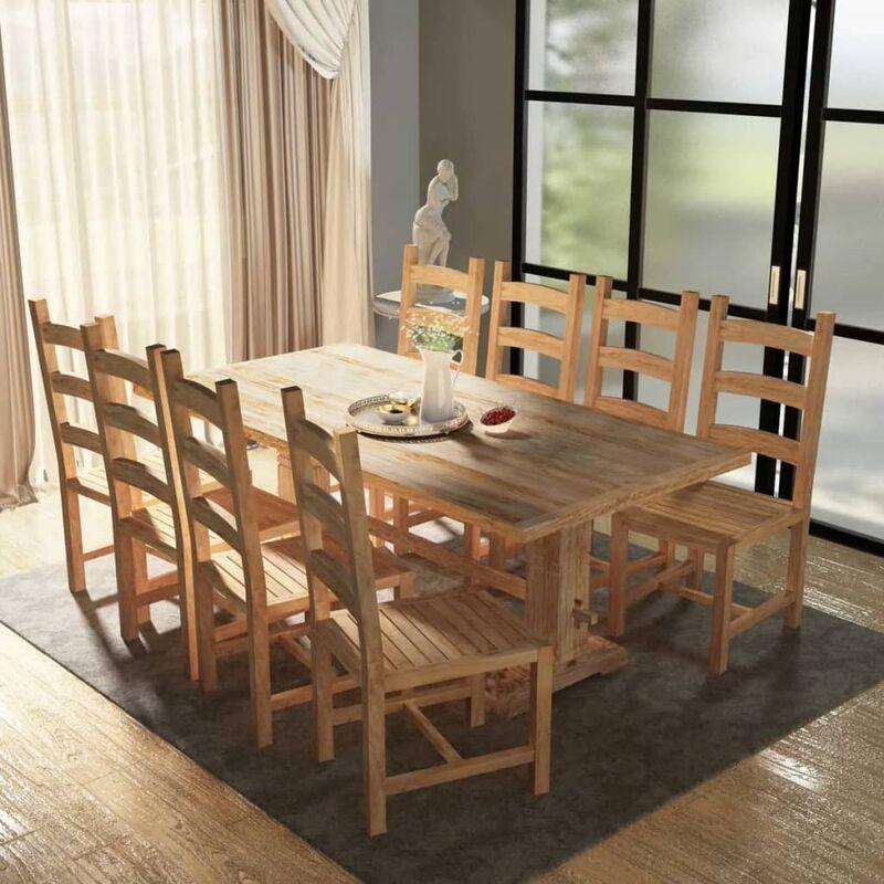 9-tlg. Essgruppe Tisch mit Stühlen Teak - VIDAXL