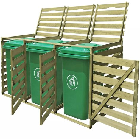 vidaXL Abri pour poubelle triple 240 L Bois impregne FSC