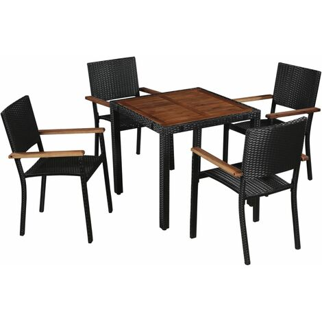 vidaXL Acacia Wood Outdoor Dining Set Poly Rattan Steel Black Garden Patio Dining Table Chair Seat Furniture Vintage Style 5/7/9 Piece