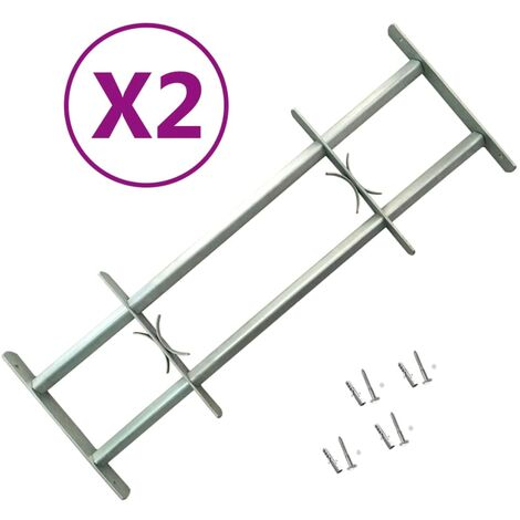vidaXL Adjustable Security Grilles for Windows 2 pcs 1000-1500 mm - Silver