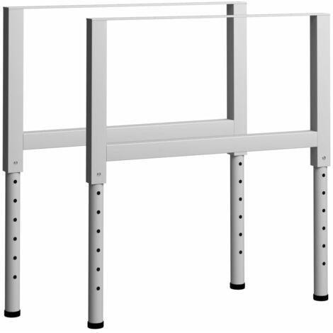"main image of ""vidaXL Adjustable Work Bench Frames 2 pcs Metal 85x(69-95.5) cm Grey - Grey"""