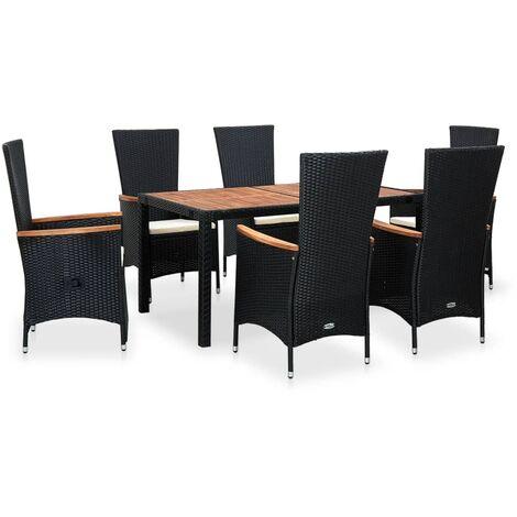 vidaXL Akazienholz Gartenmöbel Rattanmöbel Sitzgruppe Sitzgarnitur Lounge Gartengarnitur Gartenset Tisch Stühle Schwarz Poly Rattan 7/9-tlg.