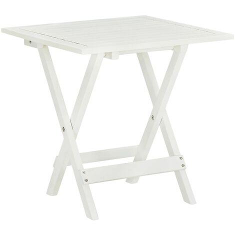 vidaXL Akazienholz Massiv Bistrotisch Klappbar Gartentisch Beistelltisch Kaffeetisch Holztisch Balkontisch Tisch 46x46x47cm Braun/Weiß