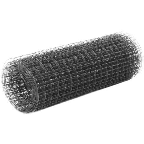 vidaXL Alambrada de gallinero acero revestimiento PVC gris 25x0,5 m - Gris