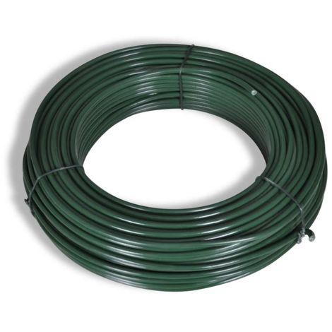 VidaXL Alambre para vallas 80 m 2,1/3,1 mm acero verde