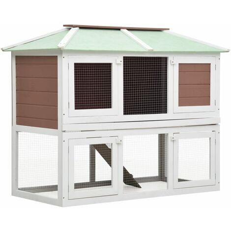 vidaXL Animal Rabbit Cage Double Floor Brown Wood - Brown