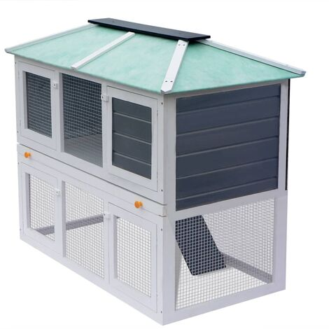 vidaXL Animal Rabbit Cage Double Floor Wood - White