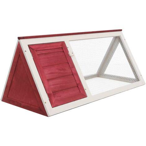 vidaXL Animal Rabbit Cage Red Wood - Red