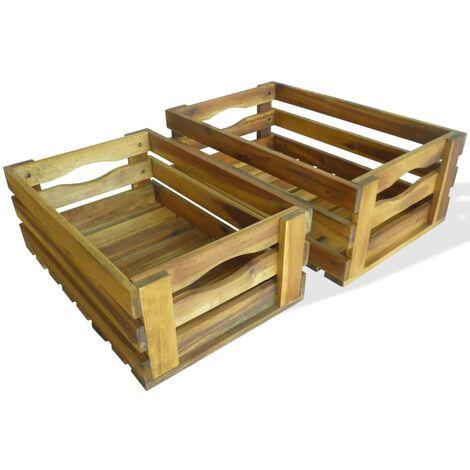 "main image of ""vidaXL Apple Crate Set 2 Pieces Solid Acacia Wood - Brown"""