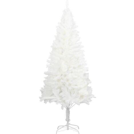 vidaXL Árbol artificial de Navidad con hojas realistas blanco 120 cm - Blanco