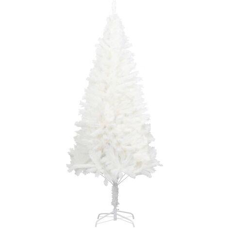 vidaXL Árbol artificial de Navidad con hojas realistas blanco 210 cm - Blanco