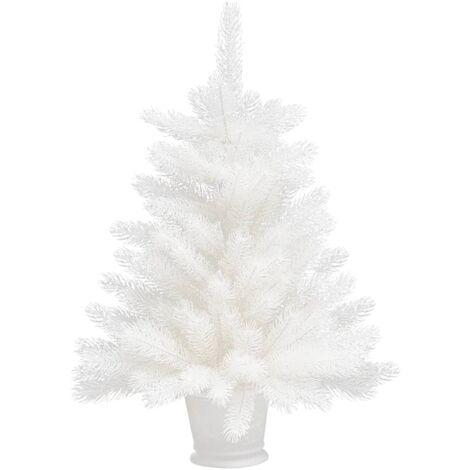 vidaXL Árbol artificial de Navidad con hojas realistas blanco 65 cm - Blanco