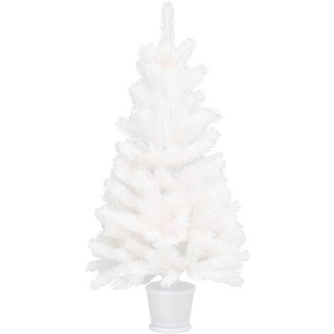 vidaXL Árbol artificial de Navidad con hojas realistas blanco 90 cm - Blanco