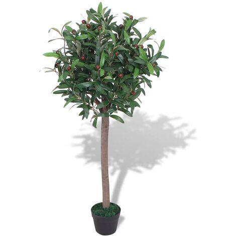 vidaXL Árbol de Laurel Artificial con Maceta Casa Jardín Decoración Hojas Macetero Planta Paisaje Fiesta Balcón Salón Comedor Verde 120 cm/ 125 cm