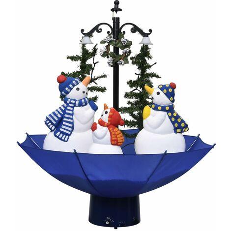 vidaXL Árbol de Navidad con nieve con base de paraguas PVC azul 75 cm - Azul