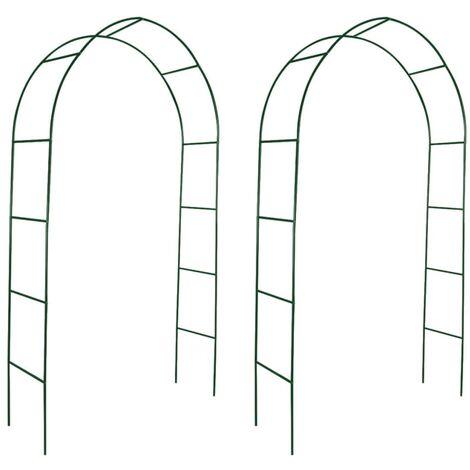 vidaXL Arcos de jardín 2 unidades para plantas trepadoras - Verde